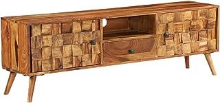 Festnight Mueble TV Madera Maciza Sheesham, con 1 Compartimento, 1 Cajón y 2 Armarios, 140x30x40 cm