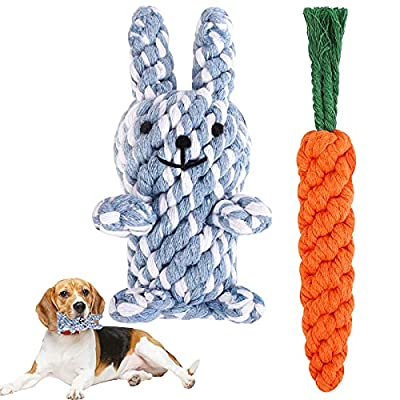 Ruisita White and Blue Bunny & Orange Carrot Puppy Boredom Rope Toy Cotton Natural Teeth Cleaning Chew Rope Dogs Ball Knot Training Toy Cotton Rope Dog Toys Pet Teeth Training Toys