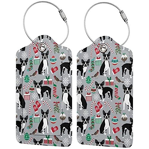 2 etiquetas de equipaje, etiquetas de piel sintética para equipaje con cierre de acero inoxidable para bolsa de viaje, maleta de Boston Terrier, regalo de raza de perro