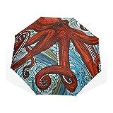Le pieghe dell'ombrello 3 personalizzano il peso leggero antivento anti-UV di Octopu Ocean Wave