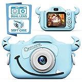 子供用カメラ,TONDOZENキッズカメラ トイカメラ 2000万画素 1080P HD 高画質動画カメラ キッズデジカメ USB充電 デュアルレンズ 自撮可能 子どもデジタルカメラ 2.0インチIPS画面 4倍ズーム 子供の日 誕生日プレゼント 日本語説明書付き(ブルー)