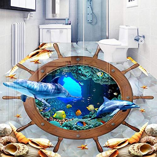 Benutzerdefinierte 3D-Aufkleber Submarine World Dolphin Wasserdichtes Foto 3D-Bodentapete Hotel Selbstklebendes Hotel Wohnzimmer Badezimmer 450x300cm