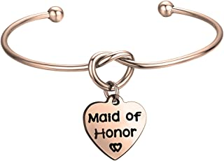 FEELMEM Bridesmaid Jewelry Bridesmaid Gifts- Simple Love Knot with Heart-shaped Engraved Message Charm Bangle Bracelet- Wedding Wishes Gift for Women Girl