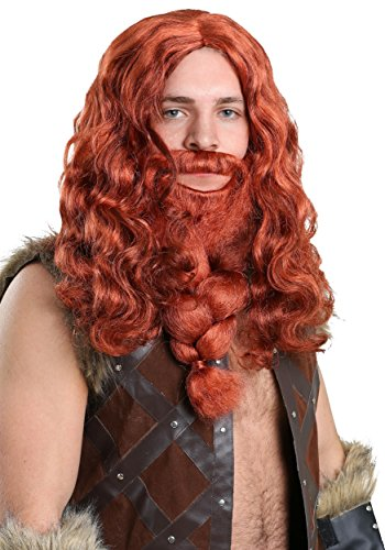 Adult Red Viking Wig and Beard Set Standard