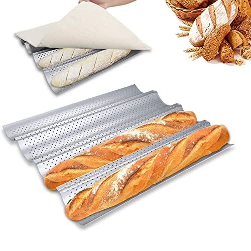 HOTOOLME Baguette Backform antihaft Baguette-Backblech edelstahl für 4 Baguettes 38 x 33 cm - mit Bäckermesser und Bäckerleinen