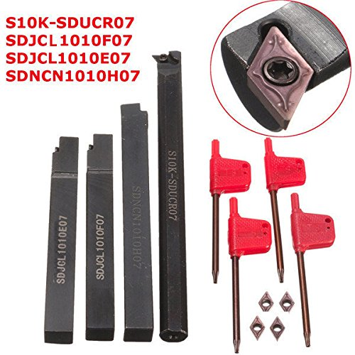 Bargain World 4pcs s10 K-sducr07/Sdjcl/Sdjcl/SDNCN1010H07 turning Tool Holder set con pezzi DCMT0702 inserti