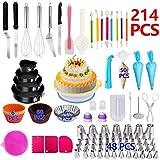 214Pcs DIY Cake Decorating Bakery Tools Kit Cake Turntable Set Springform Cake Sartenes Set Cocina Postre Suministros para Hornear - Multicolores