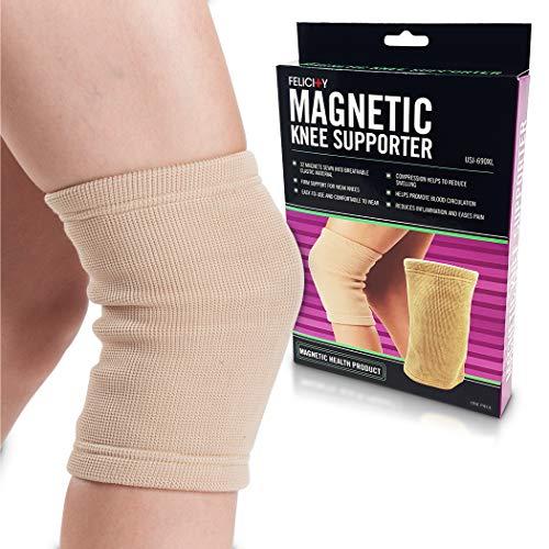 U.S. Jaclean Felicity USJ-690 Magnetic Knee Supporter, Support for Weak Knees, Comfortable To Wear, Beige, Medium