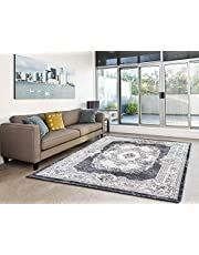 Calore Area Rugs Clearance, Luxury Imitation Cashmere, Washable Non Slip Kids Nursery Rug, Large Rectangle Indoor Mats, Multi-Functional Carpets and Area Rugs for Living Room, Bedroom [Grey White]