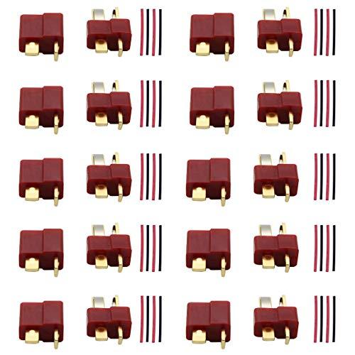Wenxiaw Conectores de Enchufe en T Macho Hembra Conectores T-Plug Enchufe Macho Hembra con Tubo para Batería RC LiPo, RC Hobby, Coche RC, Barco, Avión, Helicóptero, etc., Rojo (10 Pares)
