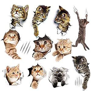 11PCS 3D Removable Cats Wall Stickers, Cute Kitten Wall Stickers, Easy to Peel and Stick on Painted Walls Cute Cat Decor Posters for Bedroom/Nursery Room/Bathroom/Kitchen/Offices