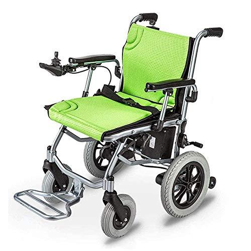 Fold Foldable Elektrische Rollstühle,Portable Elektrorollstuhl mit Kompakter Mobilitätshilfe für zwei Motoren - Wiegt nur 16.4 KG mit Batterie - Unterstützt 100KG,Kann ins Flugzeug Steigen,Grün