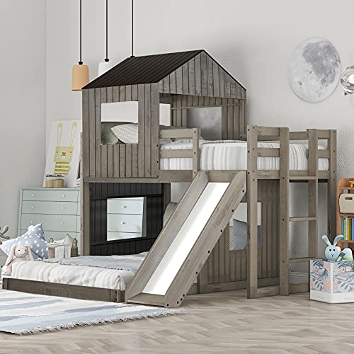 House Bed Bunk Beds with Slide, Wood Bunk Beds with Roof and Guard Rail for Kids, Toddlers, No Box Spring Needed