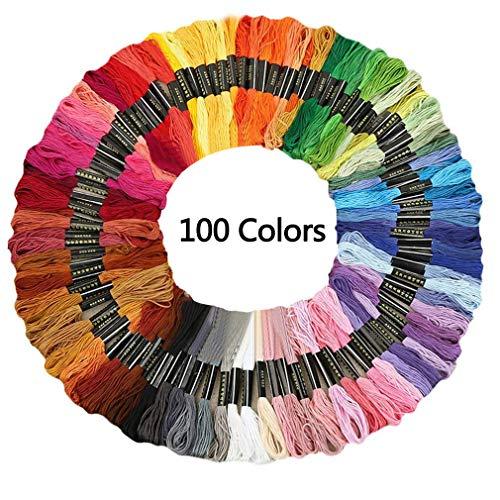 KingSaid - Kit de punto de cruz, 100 piezas, mezcla de colores, madejas de costura, hilo de algodón bordado para tejer, proyecto de punto de cruz