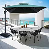 Patiassy 2020 Upgraded 10ft Patio Umbrella Outdoor Square Umbrella Large Cantilever Umbrella Windproof Offset Umbrella Heavy Duty Sun Umbrella for Garden Deck Pool Patio