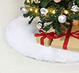Weiß Plüsch Weihnachtsbaum Rock 47zoll/120cm Weihnachtsbaum decke Christbaumständer Teppich Runde Form Schneeflocke Weiß Weihnachtsbaum Abdeckung für Weihnachtsbaum Bodendekoration Weihnachtsbaum Deko