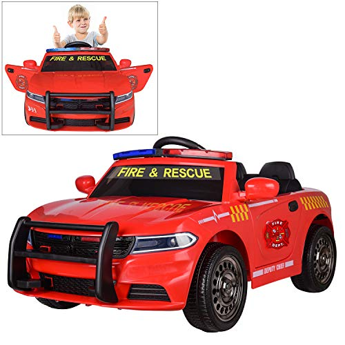 12V Fire Dept. Chief Officer Electric Ride On Car for Kids with 2.4G Remote Control, Siren Flashing Light, Intercom, Bumper Guard, Openable Doors