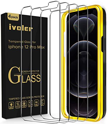 ivoler 4 Stück Panzerglas Schutzfolie Kompatibel für iPhone 12 Pro Max 6.7 Zoll, Panzerglasfolie Mit Positionierhilfe, 9H Festigkeit, Anti-Kratzen, Anti-Bläschen, Hülle fre&lich, Kritall-Klar