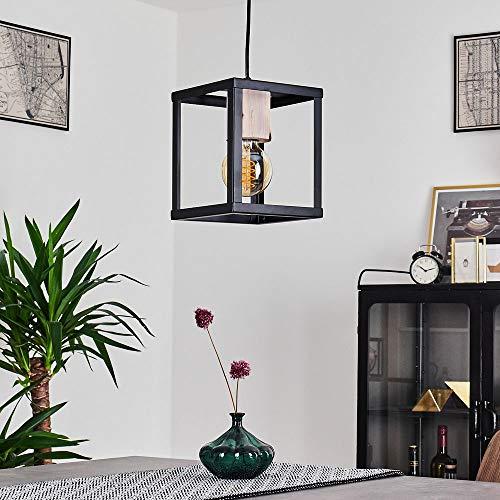 Pendelleuchte Turiza, Hängeleuchte aus Holz/Metall in Schwarz/Natur, 1 x E27 max. 60 Watt, Höhe max. 121 cm, Vintage Hängelampe in Retro Style, LED geeignet
