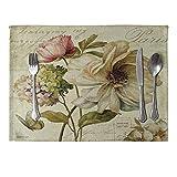 SUPER1798vintage fiore stampato tovaglietta in lino Tablewear Pad Home Dinning Table Decor Mat 13#