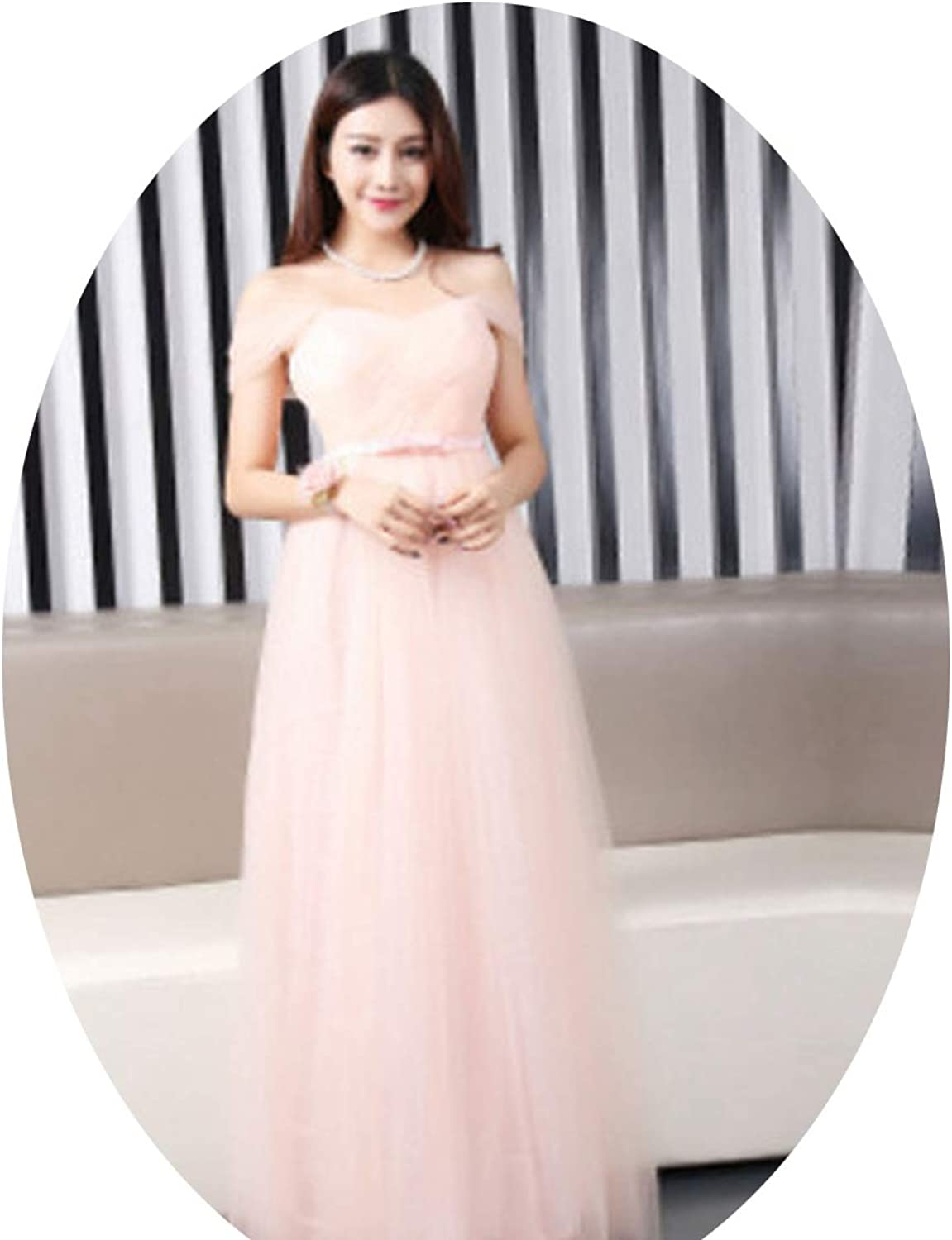 CAFSKYE Long Bridesmaid Dress Sweetheart Tulle Pleated Prom Dresses Bridesmaid Gown Dresses,Peachy Pink Bowknot,2