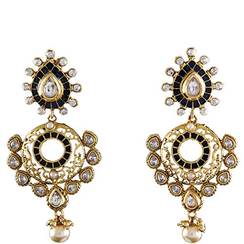 JewelryGift Exclusive Chandbali Earrings Gold Plated Cubic Zircon Studded Indian Traditional Ethnic Designer Jewellery for Girlfriend Wife ME 79-BLACK