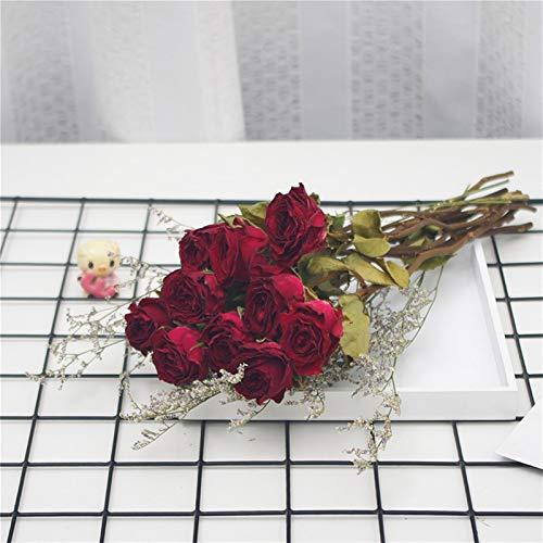 WQAZ Natürliche getrocknete Blumen 10 stücke getrocknete Blumen Rose floral blumenstrauß natürliche trockene Blume Dekoration Tisch künstliche Blume Hochzeit Dekoration Hochzeitsfeier Dekoration