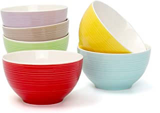 Dessert Bowls 10 Ounce for Cream, Dessert, Rice, Soup,Snack, Fruit, Dip - Hsofblues Small Porcelain Bowl Set of 6 Microwave Safe, Assorted Colors