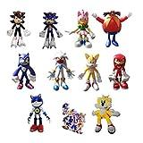 XIANGAN Sonic 9pcs / Set Figure + 1plush Sonic Peluche de Juguete Amy Rose Sonic-Shadow-Silver The H...
