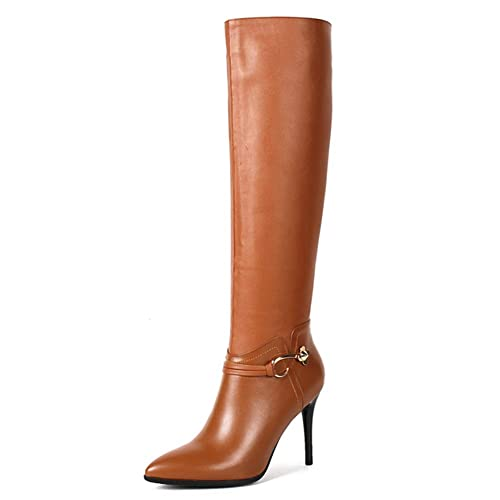e81c80d188f3 VOCOSI Women s Classic Side-Zip High Heels Leather Riding Boots Pointy Toe  Knee-High