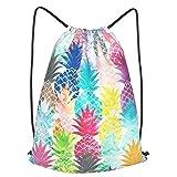 antkondnm Hawaiian Tropical Pineapple Drawstring Backpack Polyester Cinch Sack, Water Resistant String Bag Sports Sackpack Gym Sack for Men Women