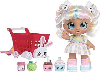 "Kindi Kids Bundle with MarshaMello 10"" Pre-School Doll and Rabbit Petkin Shopping Cart (White)"