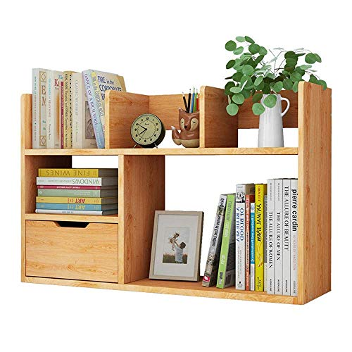 GUOXY Bookcases for Cds Records Books Home Office Decor Small Bookshelf and Bookcase 5-Cube Shelves Organizer with Drawers Office Living Room Furniture,Walnut,60X46X17Cm