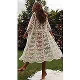 (One Size) 2020 Crochet Blanco de Punto Playa Vestido Tipo Pareo túnica Larga Pareos Bikinis Cubrir ups Bata de baño para cubrirse Plage Ropa de Playa