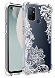 Lmposla for Oneplus Nord N100 Case,1+ Nord N100 Case, for Girls Women Shockproof Slim Ultra-Thin Flexible TPU Soft Rubber Silicone Airbag Case Cover for Oneplus Nord N100 (White lace/Mandala)