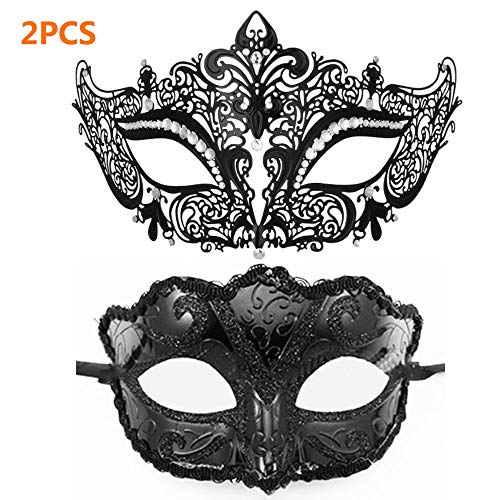 2 STÜCKE Masquerade Mask-1PC Metal Filigree Cat Black Mask, 1PC Plastic Fox Fashion Venezianische Maske für Masquerade Ball Mardi Gras Kostüm Ball Party Mask (Schwarz)