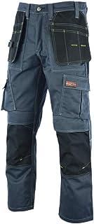 WrightFits Men Pro Builder Work Trousers Grey & Khaki - Heavy Duty Safety Combat Cargo Pant - Multi Pockets & Knee Pad Poc...