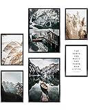 Heimlich Cuadros Decorativos - SIN Marcos - Decoración Colgante para Paredes de Sala, Dormitorios y Cocina - Arte Mural - 2 x A3 (30x42cm) et 4 x A4 (21x30cm) | »Barco Montañas Pampas «
