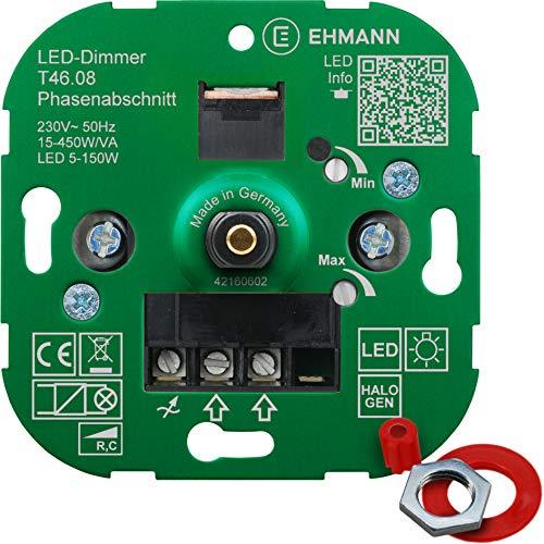 EHMANN 4600x0800 T46.08 Unterputz-Dimmer, Phasenabschnitt, 230 V, 50 Hz, Leistung: LED 5-150 W, 15-450 W/VA, inkl. Schalterprogramm-Adapter