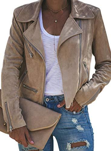 Sidefeel Women Faux Leather Zipper Notch Collar Moto Biker Jacket Cropped Coat 2XL Khaki
