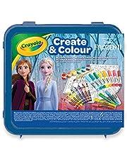 Crayola- Maletín Create & Color Disney Frozen 2, para dibujar y colorear, 50 Pzs, Color azul (04-0634) , color/modelo surtido