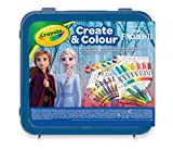 Crayola- Maletín Create & Color Disney Frozen 2, para dibujar y colorear, 50 Pzs, Color azul (04-0634) , color/modelo surtido