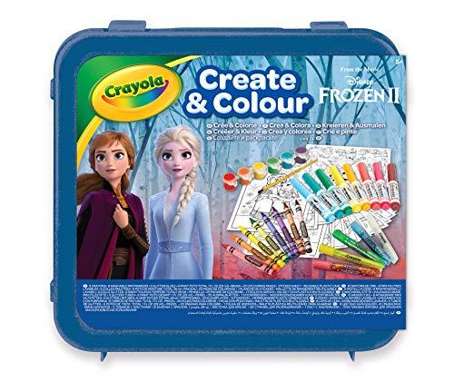 CRAYOLA-LA Reine des NEIGES 2 Valigetta Crea & Colora Disney Frozen 2, per disegnare e colorare, 50 Pezzi, Colore Azzurro, 04-0634