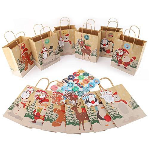 Ulikey Adventskalender zum Befüllen - 24 Kraftpapiertüten Braun mit Griff, Weihnachten Geschenktüten mit Adventskalender Zahlen, Geschenktüten Papierbeutel, Bodenbeutel Papier für Weihnachts (A)