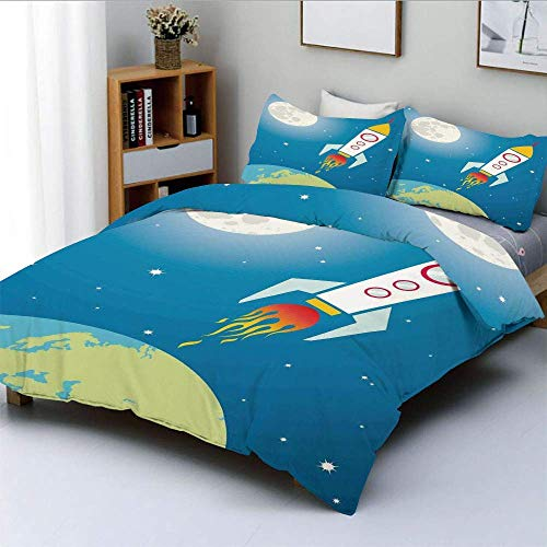Juego de funda nórdica, cohete Galaxy, astronauta, nave espacial, lanzadera, universo, viaje, luna, estrellas y tierra, decorativo, juego de ropa de cama de 3 piezas con 2 fundas de almohada, el mejor