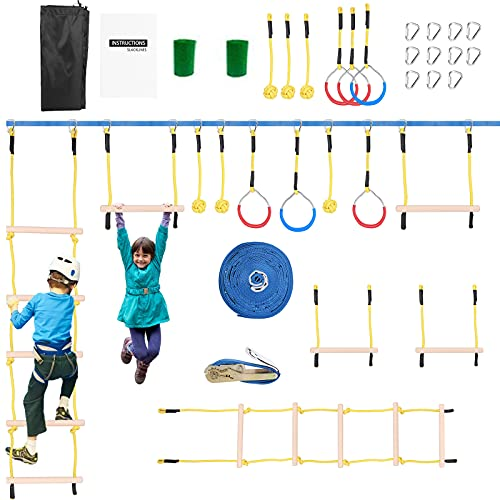 Ninja Warrior Obstacle Course per bambini, 4YANG 50FT Slack Line Kit, Ninja Warrior Attrezzature per lallenamento per bambini, arrampicata corda scaletta &rete cargo da arrampicata adatta allaperto