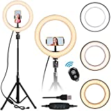 10'' Selfie Ring Light - LED Ring Light with Tripod Stand, Adjustable Phone Ring Light Compatible with iOS & Android Phones for Live Video, Makeup, Photography and Vlog Creation
