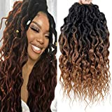 Faux Locs Crochet Hair 6Packs 16Inch Pre-looped Goddess Locs Crochet Hair, Short Locs with Soft Curly Ends Dreadlocks Faux Crochet Locs Synthetic Braids Extensions 72strands (16'', T30)