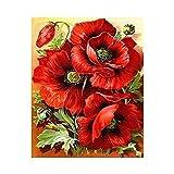 Pintura DIY para punto de cruz, diseño de rosas rojas con mosaico de diamante bordado en lienzo para decoración del hogar