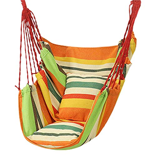dehong XXL Swing Kids Outdoor with Pillow + Tie Rope,100x130cm (Load Capacity 200 kg) Green Stripes Tree Swing Seats for Home